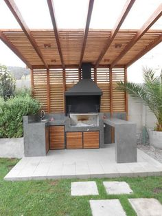 If you are looking for Outdoor Patio Kitchen Ideas, You come to the right place. Here are the Outdoor Patio Kitchen Ideas. This post about Outdoor Patio Kitc. Backyard Kitchen, Outdoor Kitchen Design, Patio Design, Backyard Patio, Backyard Landscaping, Pergola Patio, Outdoor Kitchens, Exterior Design, Patio Grill