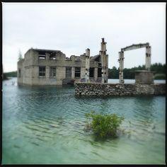 The underwater prison complex in Rummu, Harju County, Estonia.