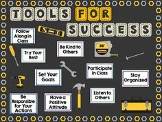 "This is a bulletin board set that allows you to showcase the ""Tools for Success"" necessary for your classroom. It's a great back to school bulletin board because it can focus on positive habits and critical classroom expectations. Two different colored ti Counselor Bulletin Boards, Back To School Bulletin Boards, Classroom Bulletin Boards, Display Boards For School, Guidance Bulletin Boards, Team Bulletin Board, Bulletin Board Ideas For Teachers, Bulletin Board Supplies, September Bulletin Boards"