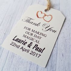 Thank you for making our Day Magical Gift Tags,Personalised Handmade Wedding Favours Vintage Luggage Style labels,Wedding decor by Handmadeskproducts on Etsy Wedding Favours Luxury, Handmade Wedding Favours, Vintage Wedding Favors, Edible Wedding Favors, Wedding Gifts For Guests, Unique Wedding Favors, Wedding Decor, Luggage Tags Wedding, Vintage Luggage Tags