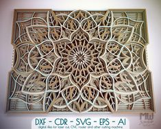 - Multilayer Mandala DXF file for Laser Cut and CNC router, Digital Files for laser cut, Laser cut DXF Mandala, Mandala Laser Cut file Lotus Flower Mandala, Mandala Art, Laser Cut Wood, Laser Cutting, Glue Painting, Cnc Router Machine, Thing 1, Laser Cut Files, Mandala Pattern