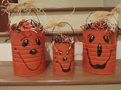 Painted Tin Can Pumpkin -to make with the girls