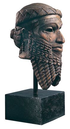 """Replica """"Head of Sargon of Akkad"""", polymer cast. Sargon (2350-2295 B.C.) was the founder of Akkad and thus, of the first centrally administered large empire in the history. His people worshiped him as a divine being. This head belonged once to a life-size statue. Original: National museum Iraq, Bagdad. Nineveh Mesopotamia, ca. 2350 B.C., copper."""