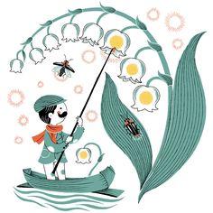 スズランの点灯夫 Naoto Tajima Wreath Drawing, Pattern Illustration, Lily Of The Valley, New Tattoos, Tweety, Storytelling, Fairy, Kids Rugs, Graphic Design