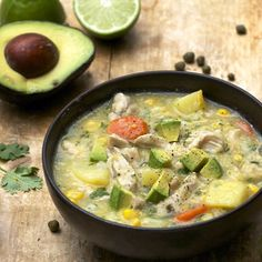 Colombian Chicken Soup: This soup is a whole healthy meal - thickened with potatoes and corn, topped with cubed avocado.