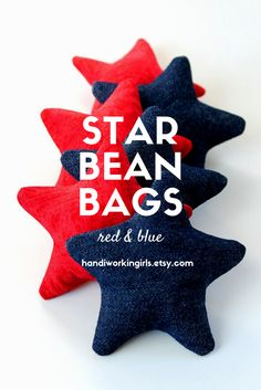 A patriotic combination of bright red and dark blue denim, our star-shaped bean bags are perfect for mini cornhole or other toss games: https://www.etsy.com/listing/279406662/star-shaped-red-blue-bean-bags-childrens