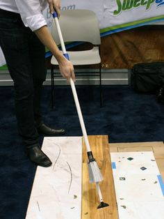 The Sweep-Easy ($19.95) isn't just a standard broom. Push the handle in and twist it to reveal any number of handy cleaning attachments. #sweepeasy #ihhs13 #cleaningtools