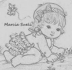 risco-para-pintura-em-fralda-menina-engatinhando-marcia+sueli-enxoval-de+bebe.jpg (344×338)