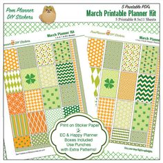 SALE March Printable Planner Stickers / St by DigiScrapDelights SALE March Printable Planner Stickers / St Patrick Owl Kit in Green & Orange 5 PDF Shamrocks, Owls, Irish, Icons, Washi, Birds, Flowers -Freebies at BibleJournalLove.com- #march #printable #plannerlove #plannerstickers #planneraddict #stpatricksday #green