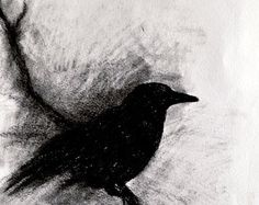 Original one of a kind crow drawing , completed in 2016.  Size : 20 cm x 30 cm (approximately 8 x 12)  Drawing is made with tinted charcoal on acid free paper and sprayed with a fixating varnish to prevent smudging.  Signed on the front Shipped flat between cardboard in a sturdy mailer.  ☆ SHIPPING Ships with Standard International Mail ( without tracking ) ☆ ESTIMATED TRANSIT TIMES USA, Canada - 2 weeks Australia - 2-3 weeks  If your country is not listed for shipping, please contact me for…