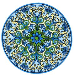 """There is a coloring page of this on my other board """"Mandala Coloring Pages.""""  See Mandala 425.  Mystical Mandalas Coloring Book, Dover Publications."""