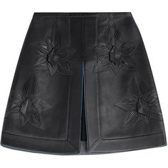 Fendi Floral A-Line Leather Skirt (3.930 BRL) ❤ liked on Polyvore featuring skirts, bottoms, faldas, fendi, shorts, black, floral a line skirt, petal skirt, floral printed skirt and knee length leather skirt