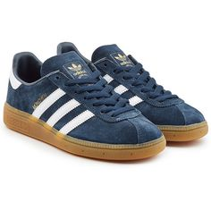 best loved 49ed0 7c746 Adidas Originals Munchen Suede Sneakers ( 99) ❤ liked on Polyvore featuring  shoes, sneakers, blue, suede low top sneakers, adidas originals shoes, ...