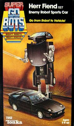 """Box art for """"Herr Fiend"""", an evil sports car / robot from Tonka's """"Super Go-Bots"""" toy line"""