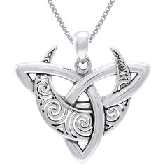 Carolina Glamour Collection CGC Sterling Silver Celtic Trinity Moon... ($44) ❤ liked on Polyvore featuring jewelry, necklaces, grey, pendant chain necklace, sterling silver pendant necklace, pendants & necklaces, celtic knot jewelry and long pendant necklace