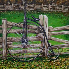 """This is a 10x10"""" giclee print of an original painting that I created of a retro, Penny Farthing bicycle leaning against a fence at an old farm."""