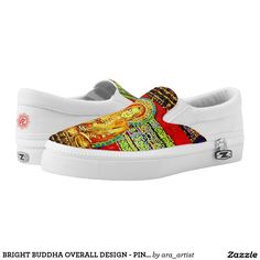 BRIGHT BUDDHA OVERALL DESIGN - PINK SLIP ONS! PRINTED SHOES