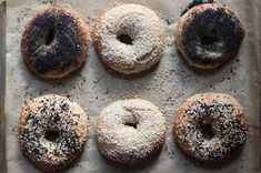 Homemade Bagels  Recipe on Food52 recipe on Food52 - def let them sit out to room temp before rising; used boiling water with baking soda, salt and some barley malt syrup. good but a bit too tender. next time knead more/cook the full 20 min? - EM
