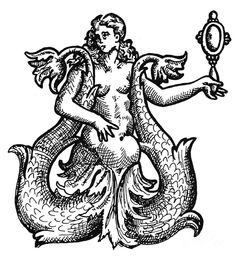 Mermaid engraving