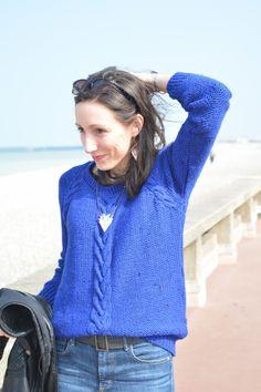 7. plage dieppe - pull maille bleu