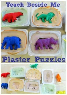 Homemade Plaster Puzzles. Use with any theme manipulatives. Perfect for younger children who are just not able to handle board shape puzzles quite yet.