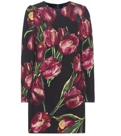 Dolce & Gabbana - Printed wool dress - Dolce & Gabbana's iconic tulip print is back, this time gracing a wool dress. The style's short skirt is tempered by long sleeves and a demure neckline. We're opting to pair this number with black ankle boots for sophisticated chic. seen @ www.mytheresa.com