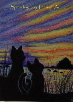 ACEO TW AUG Original Joy Lake River Water Sunset Cat Kitten Love Rainbow Summer #Myown