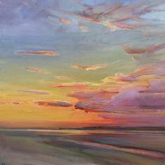 Shows at Maine Art Hill Contemporary Landscape, Abstract Landscape, Landscape Paintings, Sunset Paintings, Art Paintings, Watercolor Sunset, Sunset Art, Art Soleil, Seascape Art