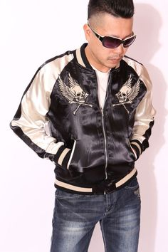 anch-crash: You can buy it only here! Our store comment VANSON バンソンスカル embroidery reversible ska Jean skeleton wing fire American casual bikie men jacket Father's Day present American Casual, Us Store, Fathers Day Presents, One Drop, Satin Jackets, Global Market, Skeleton, Bomber Jacket, Leather Jacket