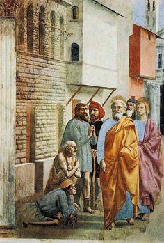 Masaccio - San Pietro risana con l'ombra - affresco - circa 1424-1425 - Cappella Brancacci, Chiesa di Santa Maria del Carmine, Firenze.