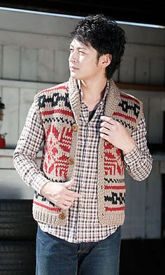 Ravelry: Cowichan-style Geometric Vest pattern by Pierrot (Gosyo Co., Ltd). I want this for me.