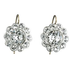 Sterling Set Paste Floret Earring::Antique Jewelry::Jewelry::Alexis Bittar