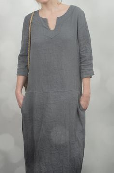Long Linen Dress by KnockKnockLinen on Etsy
