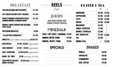 Reels Cafe lightbox menu design