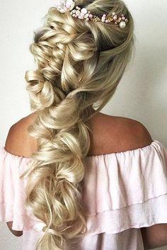 half up half down wedding hairstyles ideas twisted like braid long hair with accesory live neekas