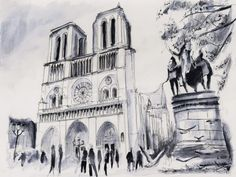 Le parvis de Notre-Dame – Paris. Watercolor painting / Aquarelle. By Nicolas Jolly.