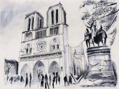 Le parvis de Notre-Dame – Paris. Watercolor painting / Aquarelle. By Nicolas Jolly.
