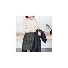 Wool-Tweed Plaid Pleated Mini Skirt (35 CAD) ❤ liked on Polyvore featuring skirts, mini skirts, women, short mini skirts, wool plaid mini skirt, green skirt, wool plaid skirt and green plaid skirt