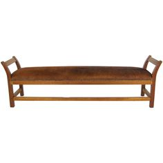 7' Long Wood And Cowhide Bench | From a unique collection of antique and modern benches at http://www.1stdibs.com/furniture/seating/benches/