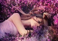 Spring woman outdoors photography purple pink flowers field