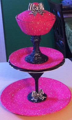 Pink black and zebra glitter sparkley vanity caddy. I love it!! Perfect to hold my nail polish!!