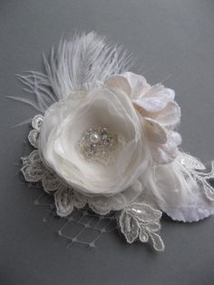 Wedding Ivory lace flower bridal accessory fascinator mini 2 inch silver hair flower small hairpiece clip lace rhinestone pearl crystal