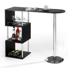 Breakfast Bar Table Kitchen Dining Modern Stylish Cafe Black Party Storage Shelf