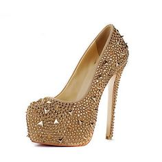 Leather Stiletto Heel Pumps With Rhinestone / Rivet Party / Evening Shoes – USD $ 99.99