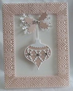 Snowflake Ornament Card (Note to self: my Sister has this beautiful ornament die by Memory Box) (Site: not related to card) Christmas Cards To Make, Xmas Cards, Handmade Christmas, Holiday Cards, Christmas Crafts, Christmas Ornament, Memory Box Cards, Winter Cards, Creative Cards