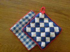 Tunisian Crochet Entrelac Dishcloth Variation  ~ free pattern
