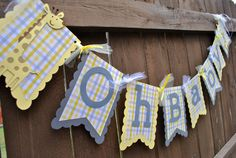 Giraffe Baby Shower Banner  Oh Baby  Handmade by EmAndBeaPaperie