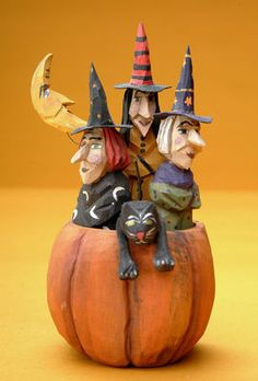 Halloween folk art wood carving