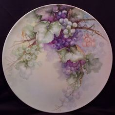 Stunning T&V Limoges Charger Serving Tray Plaque Hand Painted Grapes