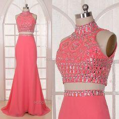 REAMS  Coral Bridesmaid Dress Handmade beading/Crystal by HGDDress